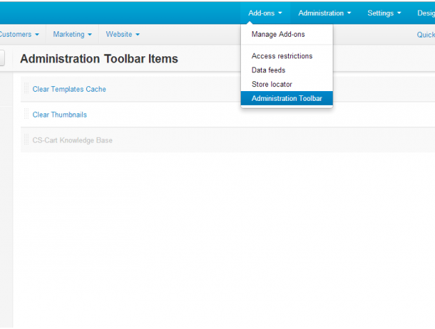 "CS-Cart ""Administration Toolbar"" Add-on"