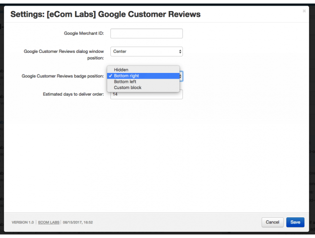 "CS-Cart ""Google Customer Reviews"" Add-on"