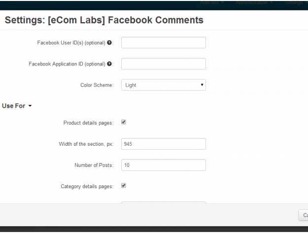 "CS-Cart ""Facebook Comments"" Add-on"