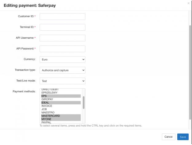 SaferPay payment gateway for CS-Cart