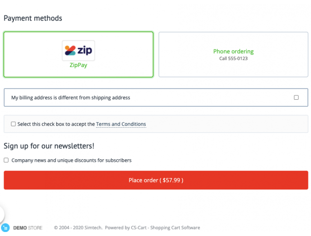 ZipPay payment gateway for CS-Cart